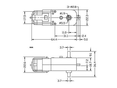 motorreductor plastico 1:48 con llanta 230rpm.