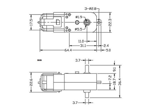 motorreductor plastico 1:48 doble eje con llanta  230rpm.