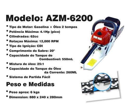 motoserra gasolina 62cc sabre 20'' - moto serra profissional