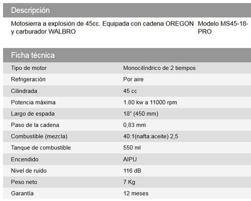 motosierra daihatsu ms45-18pro  explosión 45cc walbro oregon