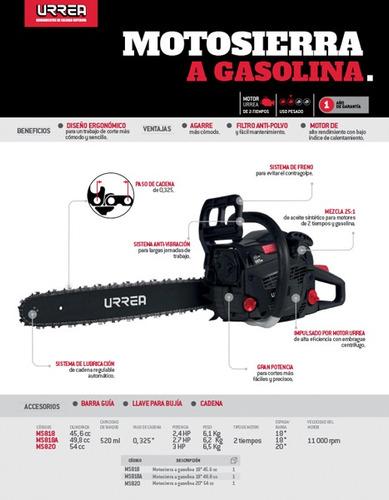 motosierra gasolina 3hp paso cadena 0.325  espada 20  urrea