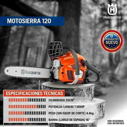 motosierra husqvarna 120 35cc 36cm 1,85 hp ferreteriapacheco
