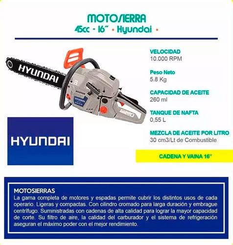 motosierra hyundai 45cc 16 1.8kw 550ml bc4516 prof - sti