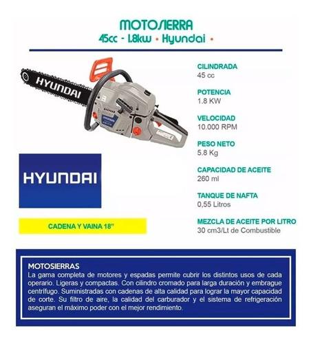 motosierra hyundai 45cc 18 1.8kw 550ml bc4518 profes - sti