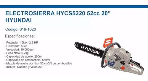 motosierra hyundai 52cc 20 2.1kw 550ml bc5220 prof - sti
