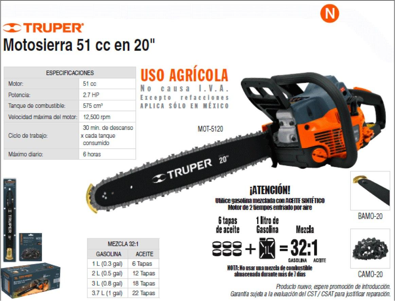 Motosierra 51 cc en 20 pulgadas truper moto sierra oferta for Precio de motosierra