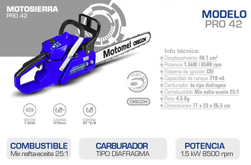 motosierra motomel pro42 8500rpm - tamburrino motos