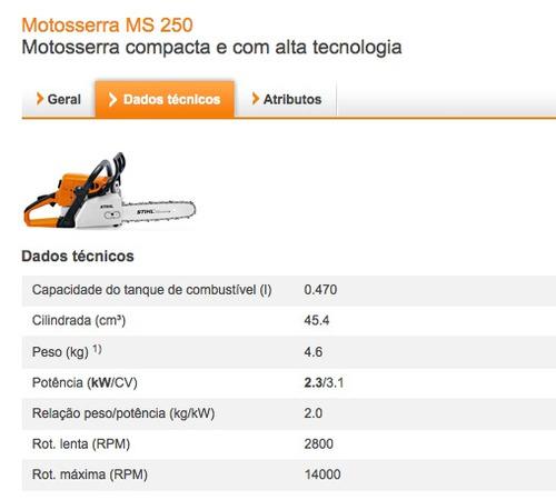 motosierra stihl ms 250 con espada r-45cm. 31 dientes en cad