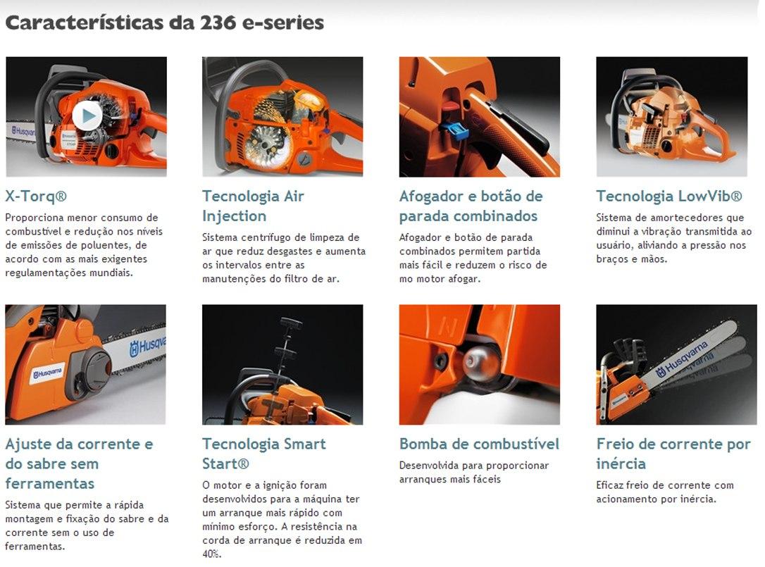 motosserra a gasolina husqvarna 236 novo modelo brinde r 749 00 rh produto mercadolivre com br manual da motosserra husqvarna 236e Husqvarna Viking Manual Online