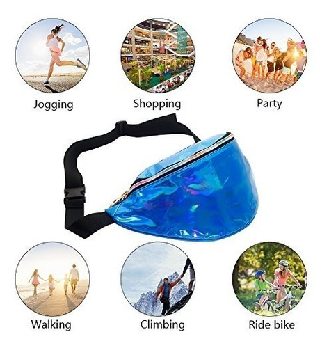 mounchain waist packs shiny laser holographic fanny pack for