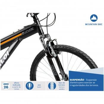 Mountain Bike Caloi T-type - Aro 26 - 21 Marchas - Preto - R  979 b2fdb4904fb68