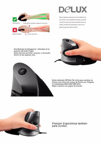 mouse ergonomico anatómico túnel carpiano delux inalambrico