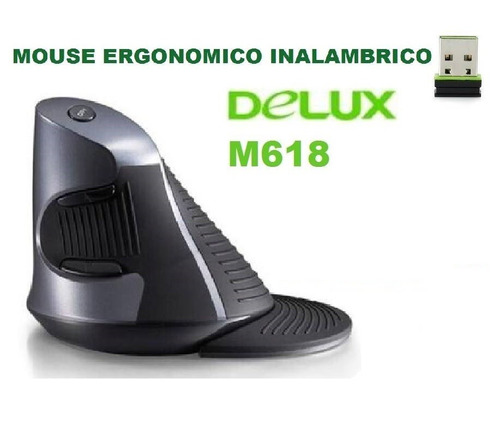 mouse ergonómico inalámbrico vertical delux oficina - raton