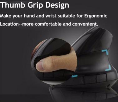 mouse ergonomico negro evita o disminuye lesion de muñeca