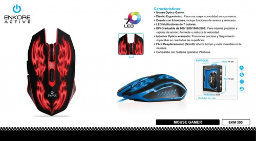 mouse gamer active - ekm 300