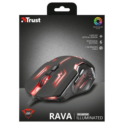 mouse gamer alámbrico trust gxt 108 rava iluminado usb negro