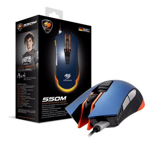 mouse gamer cougar 550m azul 6400 dpi 6 teclas + brinde