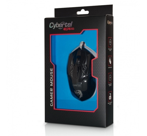 mouse gamer cybertel epico - cyb m505 luz 7 led 3200 dpi