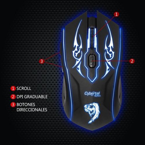 mouse gamer cybertel epico m505 con 7 luces led