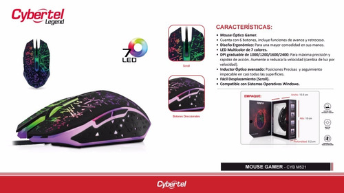 mouse gamer cybertel legend usb led