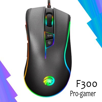mouse gamer f300 pro-gamer, programable multi rgb, macros