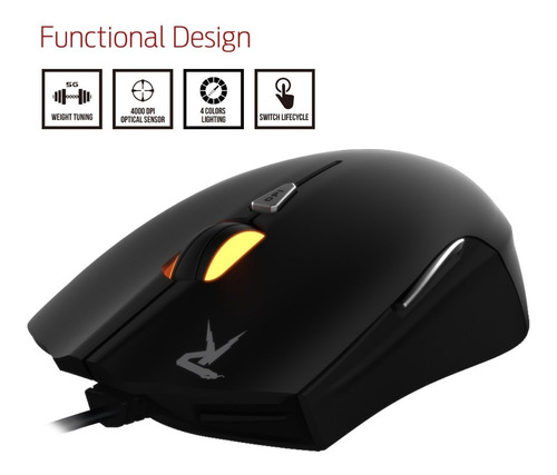 mouse gamer gamdias ourea fps, óptico, gms5501, remate