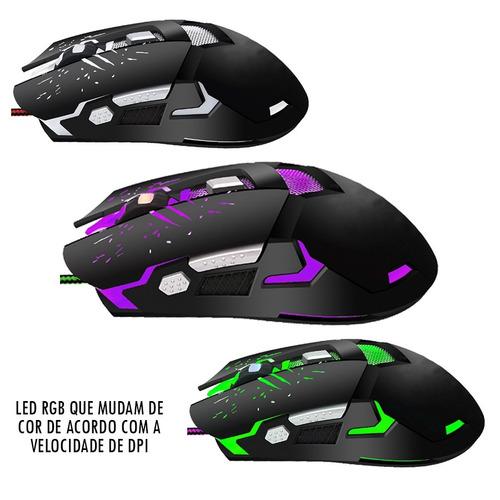 mouse gamer haiz iluminação rgb com fio hz-s10 3200dpi 2.4g