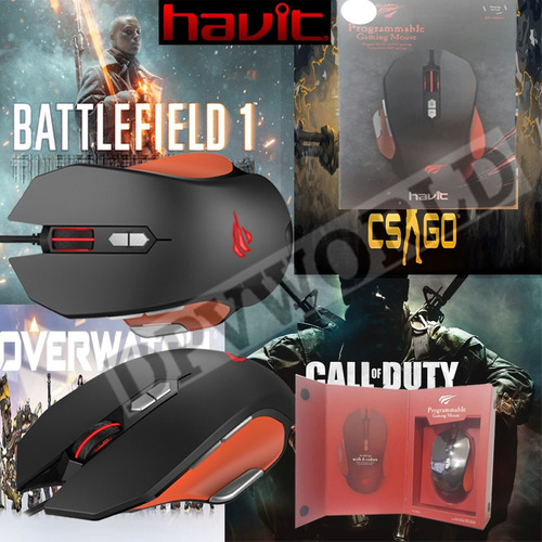 mouse gamer havit ms-762 9 teclas programable usb cod-cs,go