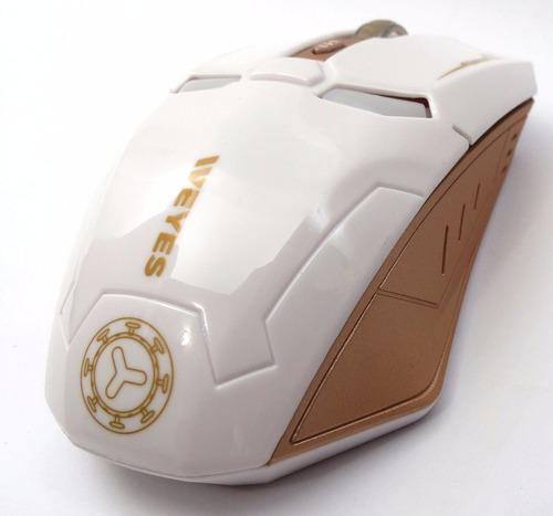 mouse gamer homem de ferro branco e bronze sem fio