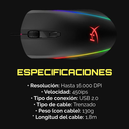 mouse gamer hyperx pulsefire surge rgb 16000 dpi pc