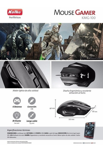 mouse gamer kolke kmg-100 led 2400dpi 6 botones usb pc cable