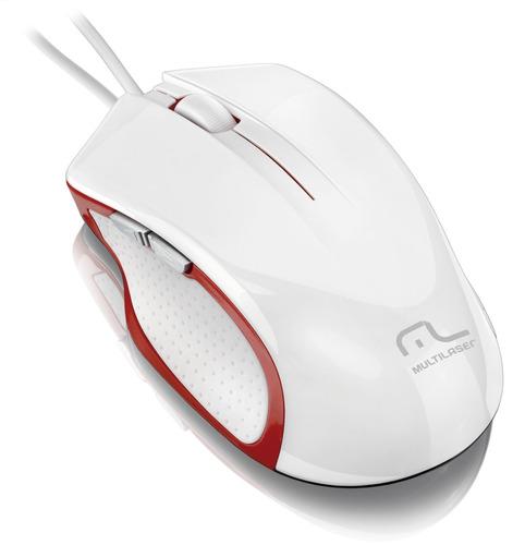 mouse gamer laser alta performance usb 6 botões branco/ verm