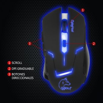 mouse gamer led wolf - cyb m500