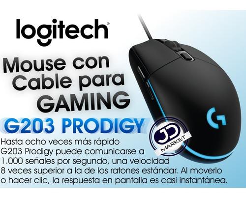 mouse gamer logitech g203 prodigy, 6 botones, 200~8000dpi