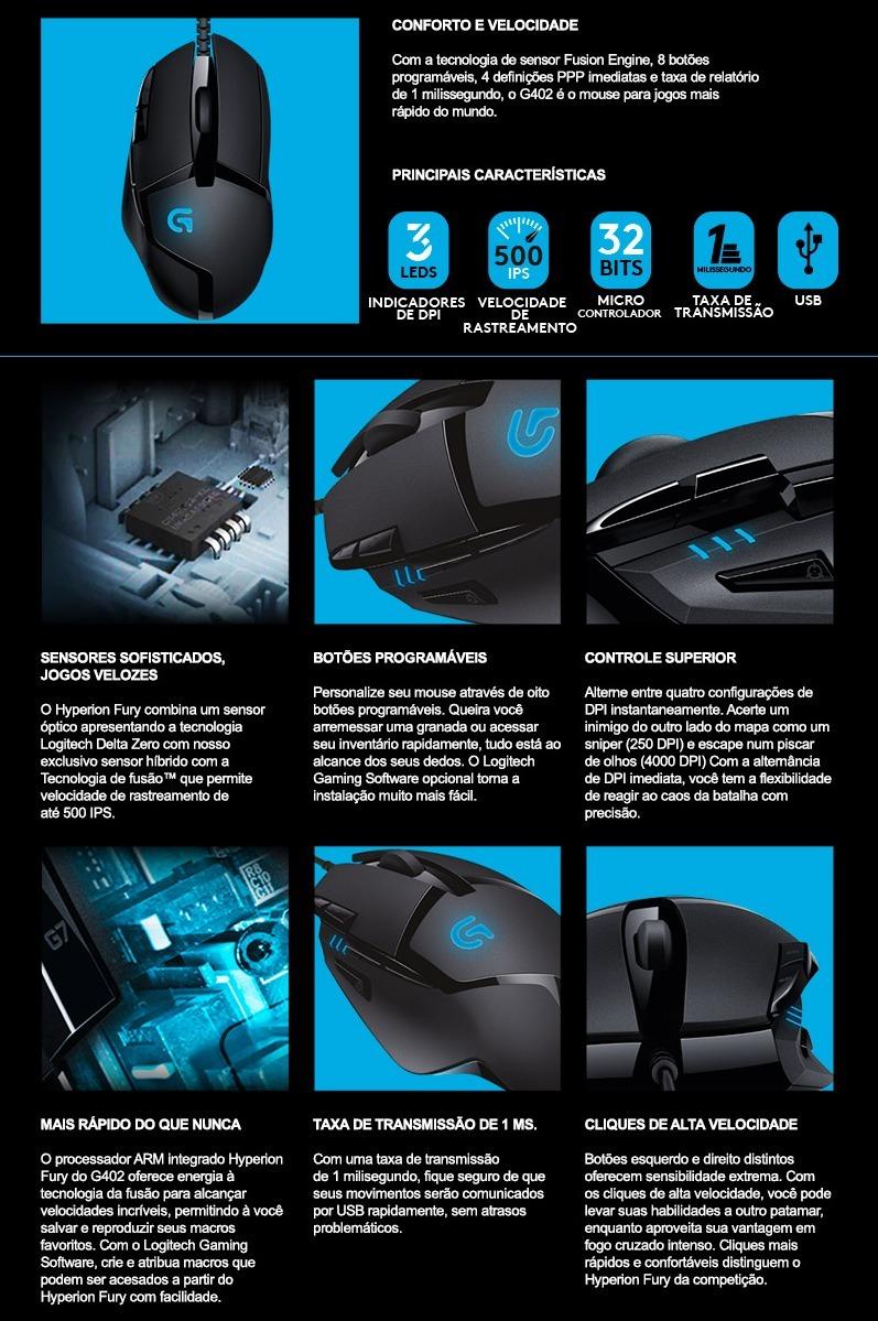 Mouse Gamer Logitech G402 Hyperion Fury - 4000 Dpi - 1 Ms
