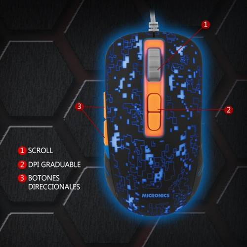 mouse gamer micronics invicto 7 colores led 7 botones lince