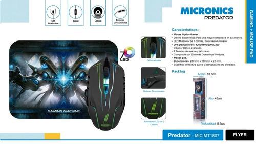 mouse gamer + mousepad predator 6 botones 7 lucecs led usb