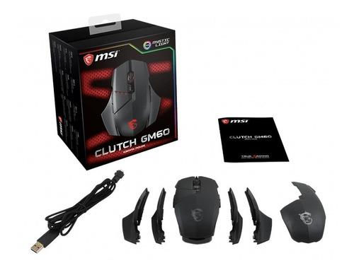 mouse gamer msi clutch gm60 negro rgb, óptico, 3600 dpi