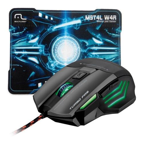 mouse gamer multilaser m3t4l w4r 7 botões, 3200dpi mo207
