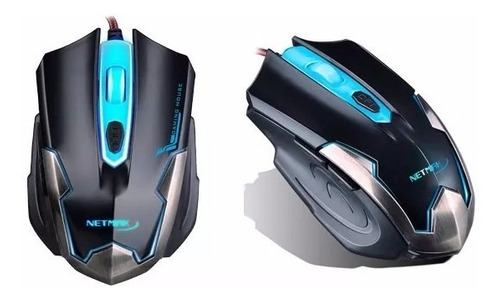 mouse gamer netmak pc armor retroiluminado led 2400 dpi