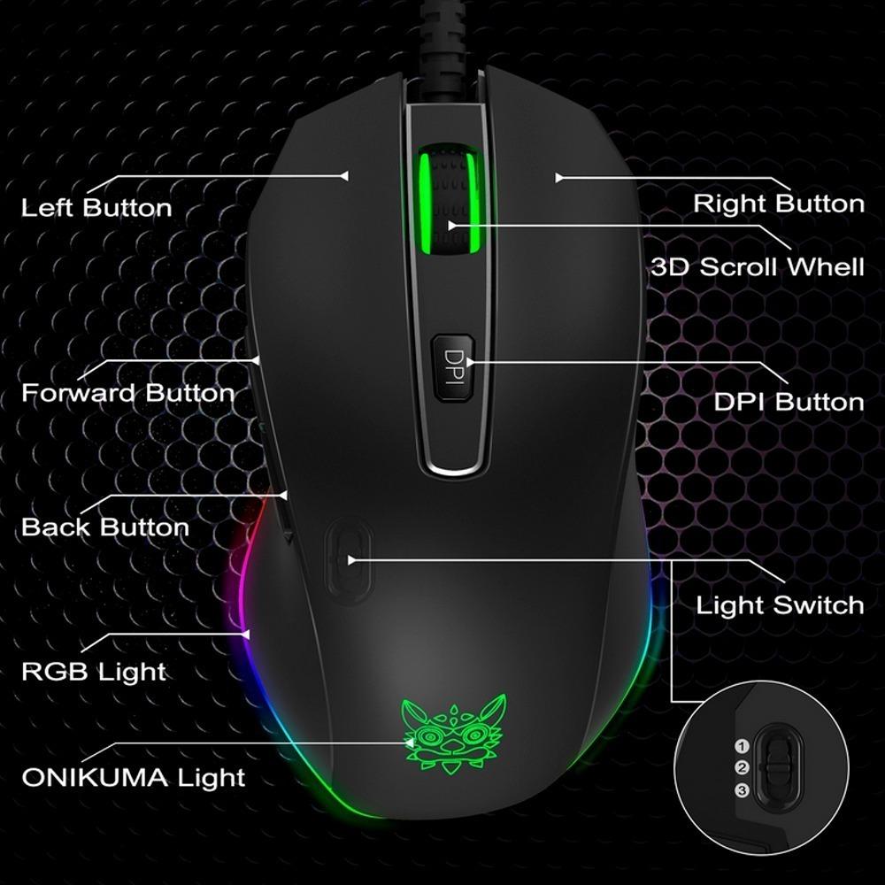 8,10 XP Vista y Mac OS Rat/ón Mouse PC Compatible con Windows 7 8000 dpi Ajustable ONIKUMA Rat/ón Gaming con Cable Rat/ón USB Ergon/ómico /Óptico para Juegos con Leds RGB