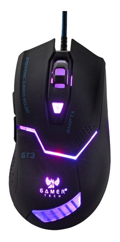 mouse gamer óptico gt3 negro luces led.