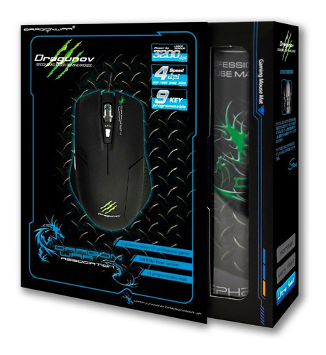mouse gamer pc 3200dpi 8 macros dragonwar incluye mousepad