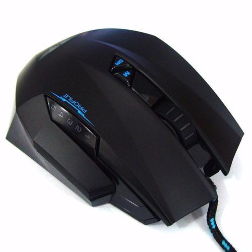 mouse gamer profissional preto/azul - leadership 392