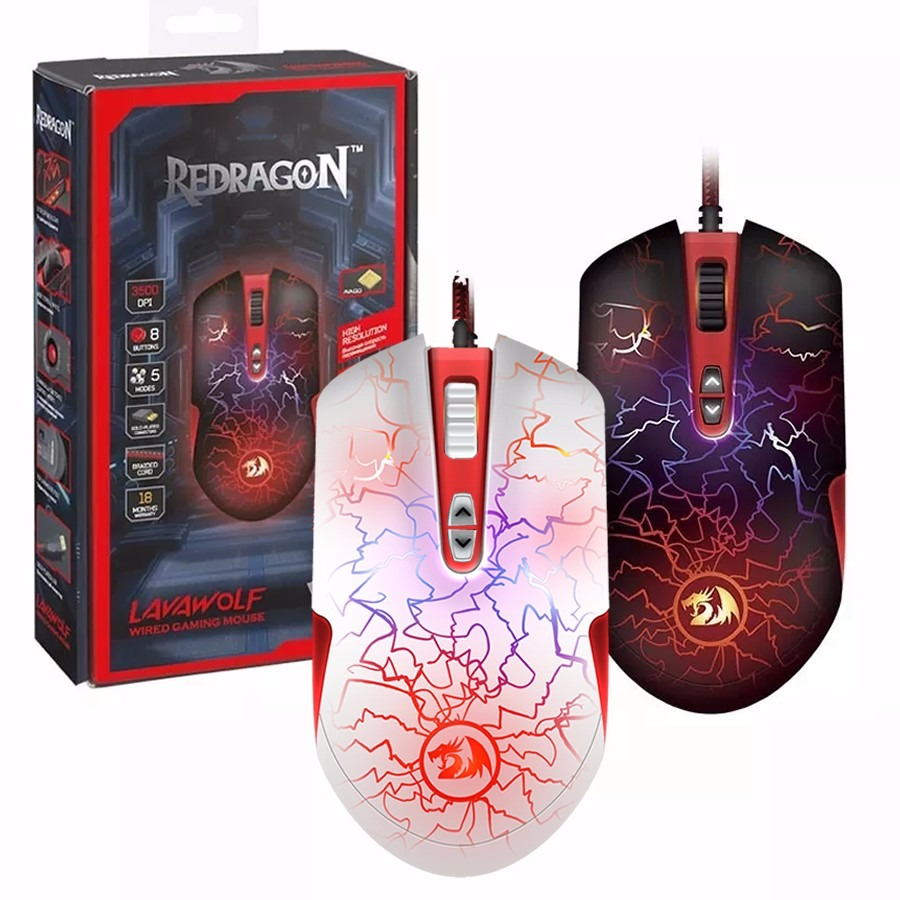 Mouse Gamer Redragon Lavawolf M701 3500dpi Rgb Programable