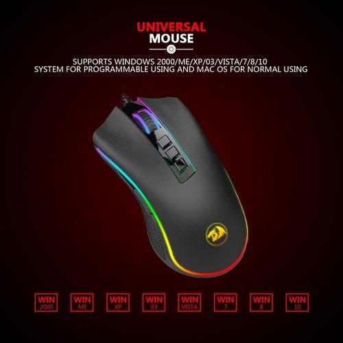 mouse gamer redragon m711 cobra fps rgb 24000 dpi rgb