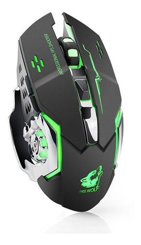 mouse gamer t-wolf inalámbrico recargable iluminado opcional