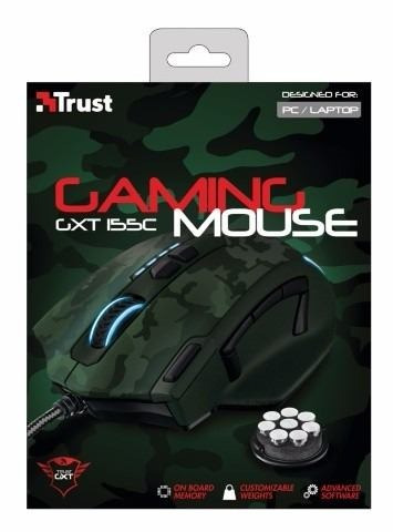 mouse gamer trust gaming gxt 155c green camouflage htg2