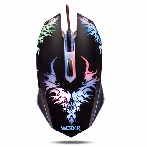 mouse gamer wesdar x8  2400dpi, luz varios colores