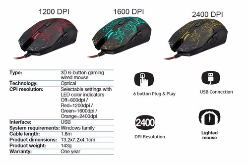 mouse gamer xtech xtm510 led red 6 botones 2400 dpi usb